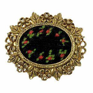 Vintage Petite Point Brooch Pendant Black & Floral